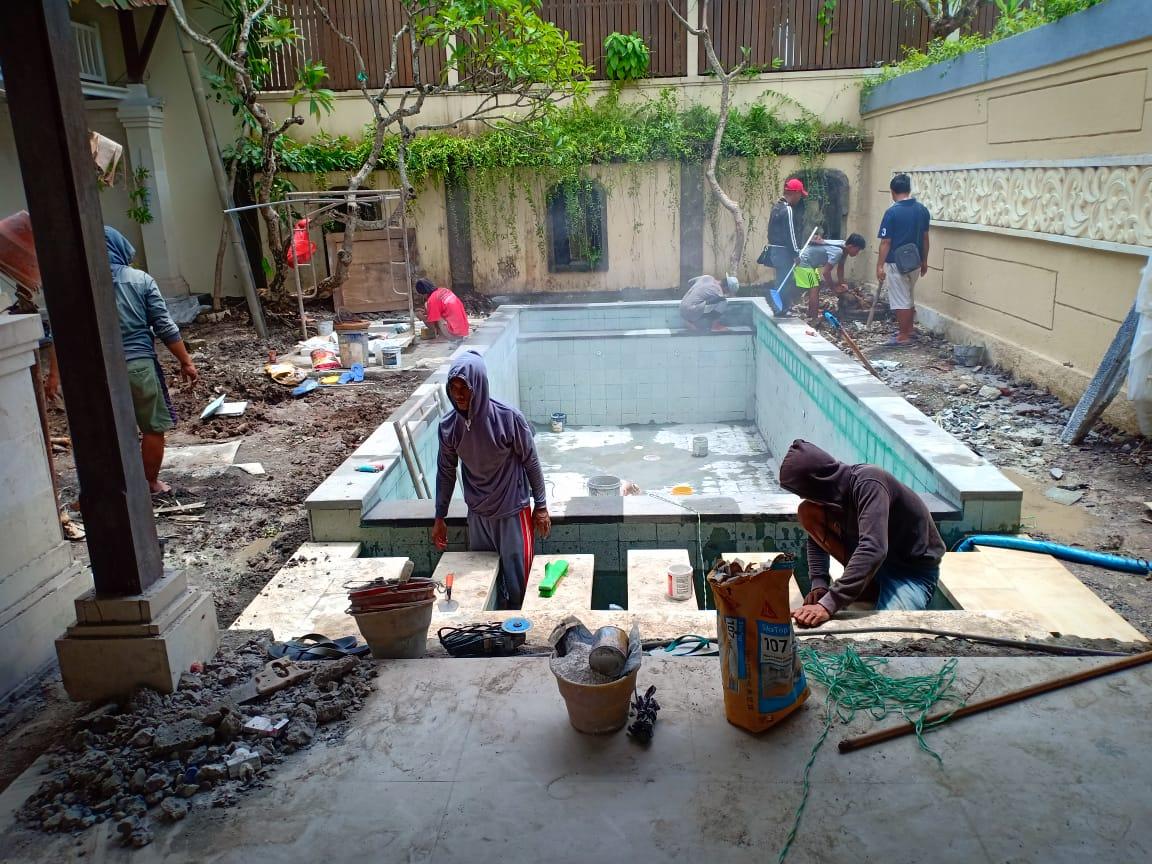 Dengan Biaya 85 Juta Sudah Bisa Membuat kolam renang yang Minimalis untuk Keluarga dengan ukuran 3 m x 7 m kedalaman 1,4 m